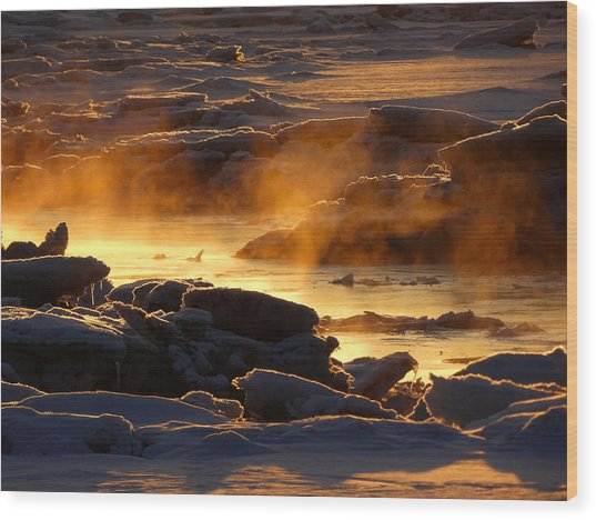 Golden Sea Smoke At Sunrise Wood Print