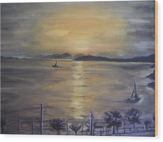 Golden Sea View Wood Print