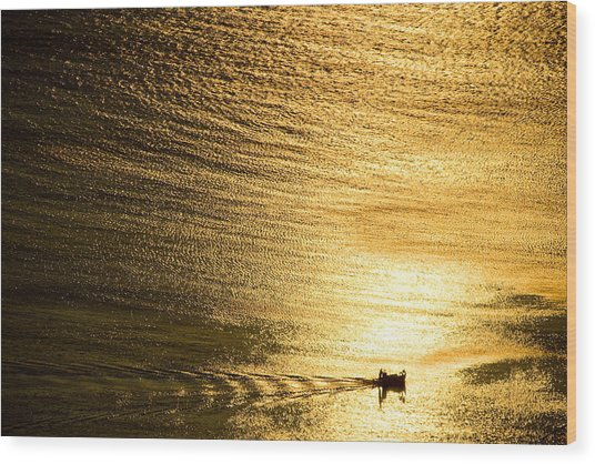 Golden Sea With Boat At Sunset Wood Print
