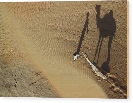 Golden Shadows Wood Print by Shoayb Hesham Khattab