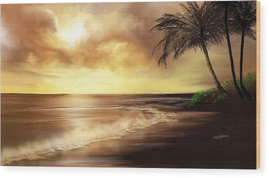 Golden Sky Over Tropical Beach Wood Print