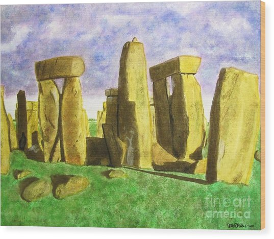 Golden Stonehenge Wood Print