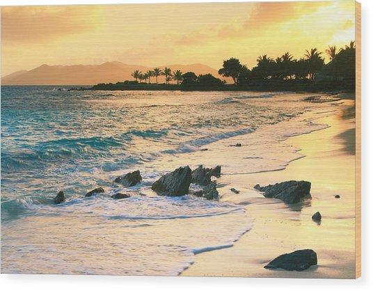 Golden Sunrise On Sapphire Beach Wood Print