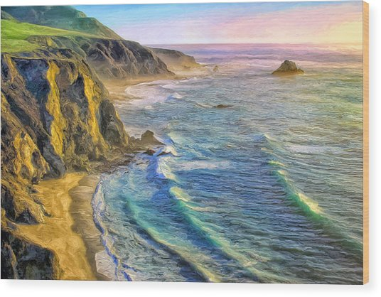 Golden Sunset At Big Sur Wood Print