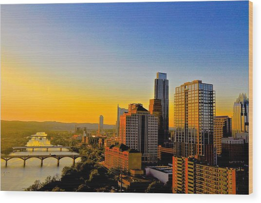 Golden Sunset In Austin Texas Wood Print