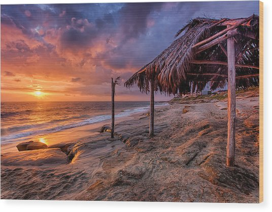 Golden Sunset The Surf Shack Wood Print