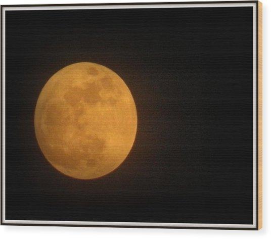 Golden Super Moon Wood Print