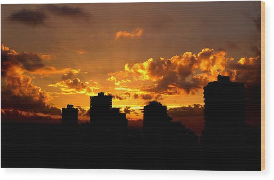 Golden Vancouver Sunset Wood Print