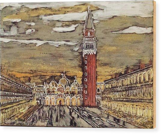 Golden Venice Wood Print