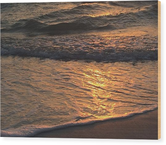 Golden Waves Wood Print
