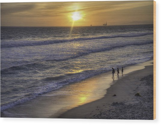 Golden West Sunset Wood Print