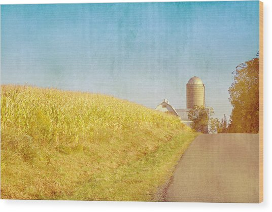 Golden Yellow Cornfield And Barn With Blue Sky Wood Print