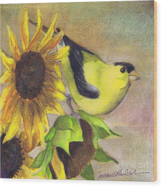 Goldfinch And Sunflowers Wood Print