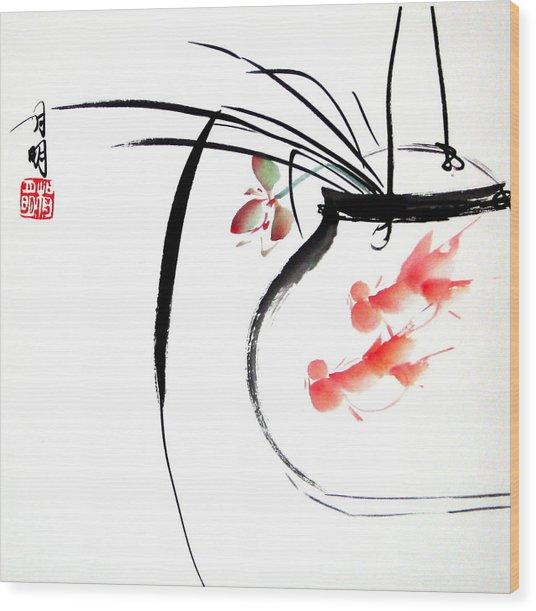 Goldfish Wood Print by Ming Yeung