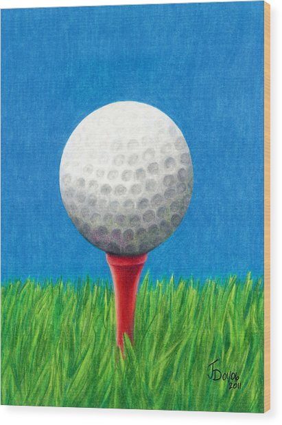 Golf Ball And Tee Wood Print