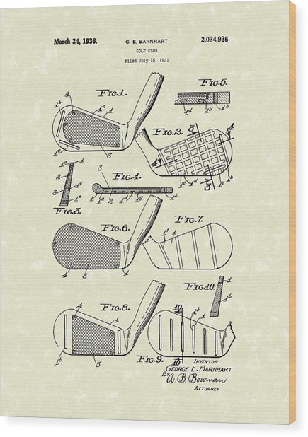 Golf Club 1936 Patent Art Wood Print