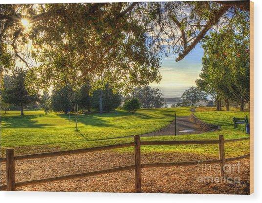 Golf Course Ocean View Wood Print
