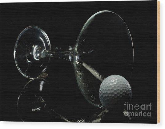 Golf Tini Golf Ball And Martini Glass Wood Print