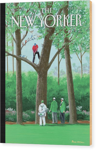 Golfer Making A Shot In A Tree While Different Wood Print by Bruce McCall