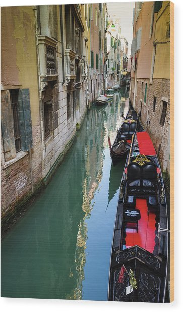 Gondolas And Canal, Venice, Veneto Wood Print by Russ Bishop