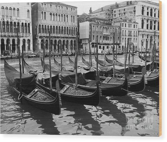 Gondolas In Black Wood Print