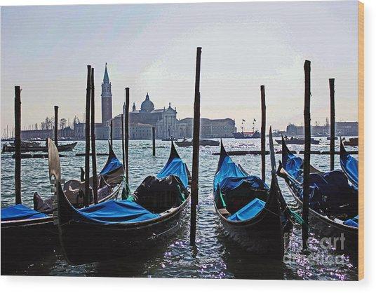 Gondolas Of Venice Wood Print