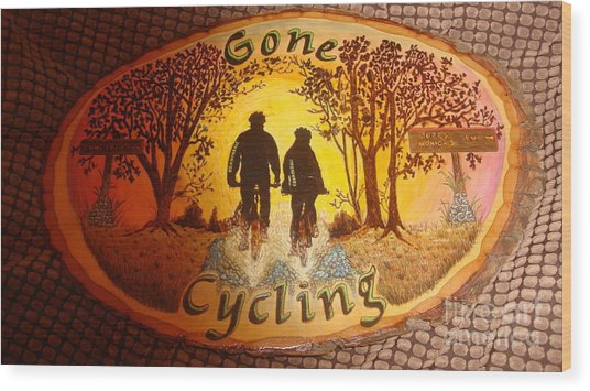Gone Cycling Wood Print by Dakota Sage