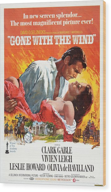 Gone With The Wind - 1939 Wood Print