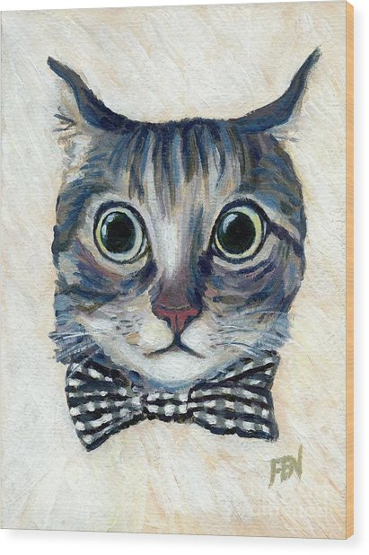 Good Boy Cat With A Checked Bowtie Wood Print