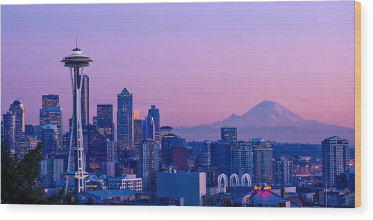 Good Evening Seattle Wood Print
