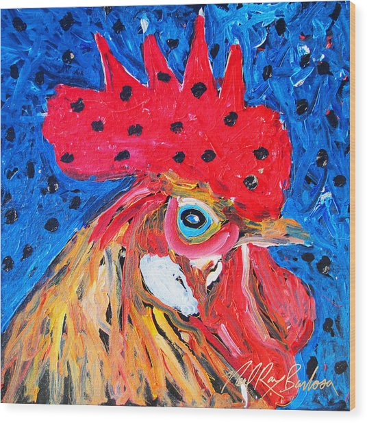Good Luck Rooster Wood Print