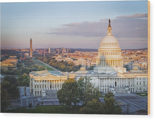 Good Morning Washington Wood Print