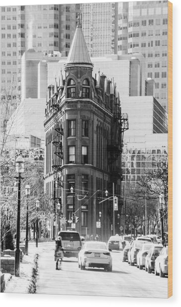 Wood Print featuring the photograph Gooderham Building - Flatiron Building - Toronto - A Touch Of Class - Black And White by Rosemary Legge