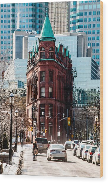 Wood Print featuring the photograph Gooderham Building - Flatiron Building - Toronto - A Touch Of Class by Rosemary Legge