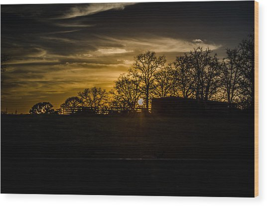Goodnight Ranch Wood Print by Kelly Kitchens
