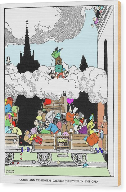 Goods And Passengers Carried Together By W. Heath Robinson Wood Print by Adam Hart-davis/science Photo Library