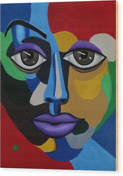 Colorful Abstract Face Art Painting, 3d Illusion, Big Brown Eyes, Purple Lips Wood Print