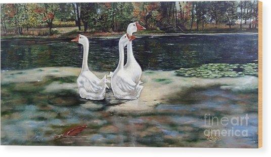 Goose Landscape Wood Print