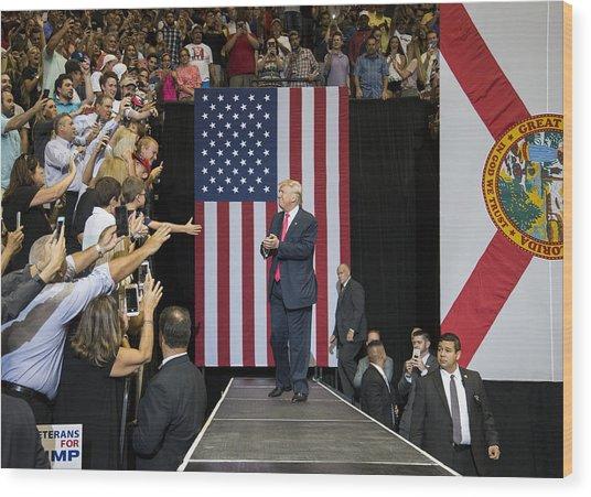 Gop Presidential Nominee Donald Trump Holds Rally In Jacksonville, Florida Wood Print by Mark Wallheiser