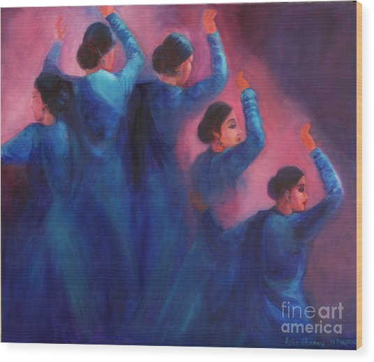 Gopis Dancing In The Dusk Wood Print
