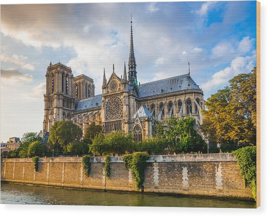 Gorgeous Sunset Over Notre Dame Cathedral Wood Print