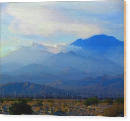 Gorgonio Pass And Mt. San Gorgonio Wood Print