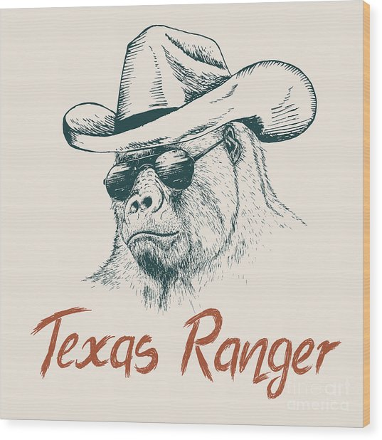 Gorilla Like A Texas Ranger Dressed In Wood Print