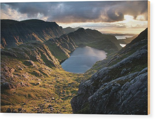 Gorm Loch Mor And Fionn Loch Beyond Wood Print by Feargus Cooney