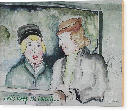 Gossip On The Bus Wood Print