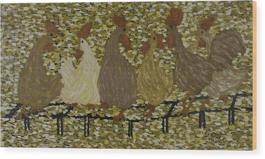 Gossiping Chickens Wood Print