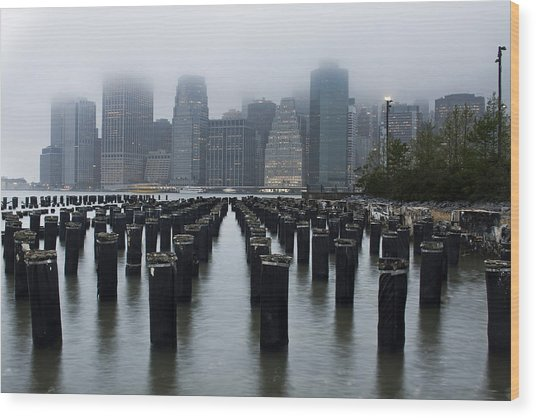 Gotham Mist Wood Print by Michael Murphy