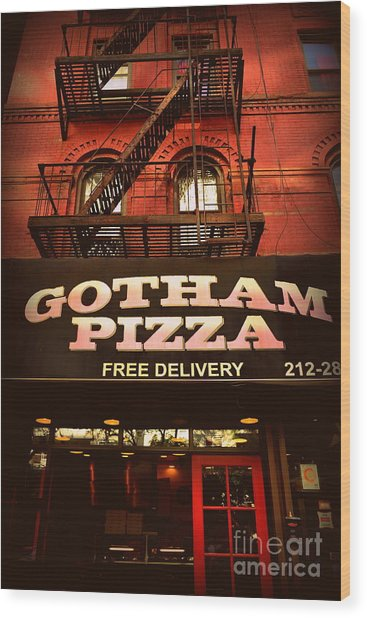 Gotham Pizza Wood Print