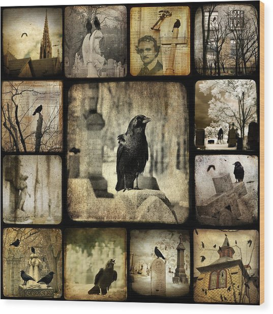 Gothic And Crows Wood Print