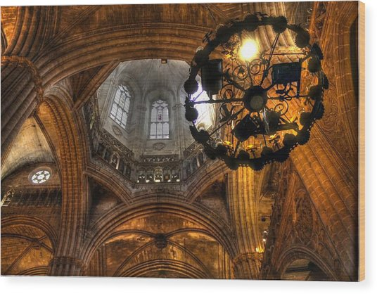 Gothic Cathedral Barcelona Wood Print